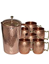 DakshCraft ® High Quality Pure Copper Jug With 6 Pure Copper Hammered Moscow Mule Mug Set
