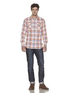 Just A Cheap Shirt Men's Long Sleeve Woven Plaid Shirt (Blue/Orange)