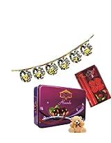 Skylofts 175gms Luscious Chocolate coated Almonds Tin pack with a cute teddy, a beautiful candle diya set & bandanwaar Diwali combo