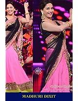 Madhuri Dixit Bollywood Replica Pink and Black Crepe Lehenga Saree