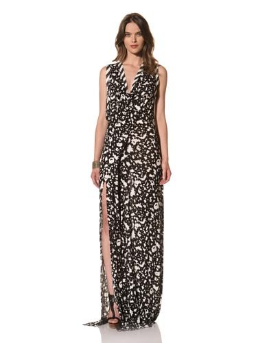 Cut25 Women's Patch Jersey Maxi Dress (Bone/Jet Multi)