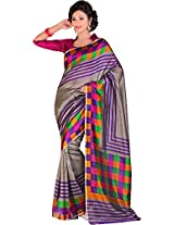 Parchayee Women's Synthetic Bhagalpuri Silk Saree (94296A, Grey, Free Size)