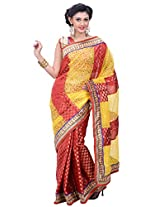 Utsav Fashion Women's Yellow and Red Net Brasso and Art Silk Jacquard Saree with Blouse