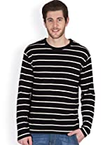 Hypernation Black and White Color Full Sleeves Stripped T-Shirts For Men