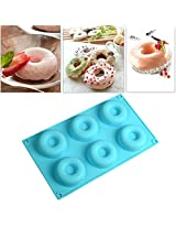 6 Cavities Silicone Doughnut Biscuit Molds Cake Chocolate Pudding Mould Mold(item just 1piece)