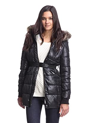 Circus by Sam Edelman Women's Quilted Placket Puffer Jacket (Black)