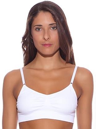Unno Sujetador Sin Costuras Sin Aro Y Cierre En La Espalda (Blanco)