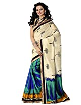 Riti Riwaz Beige Bhagalpuri Silk Casual Saree with Unstitched Blouse NRV6508B