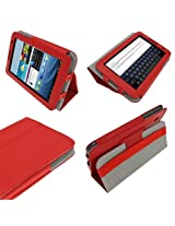 igadgitz Red 'Portfolio' Leather Case Cover for Samsung Galaxy Tab 2 7.0 P3100 P3110 3G & WiFi Android 4.0 Internet Tablet