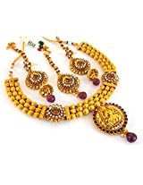 Indian Attire Women Wedding Wear South Indian One Gram Gold Plated Lakshmi Temple Jewellery