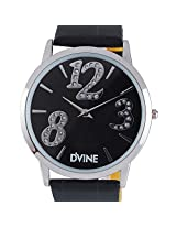Black Pu Leather Watch With Silver Dial