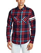 United Colors of Benetton Men's Casual Shirt (8903975016316_15A5AC75U008I901M_Medium_Navy and Red)