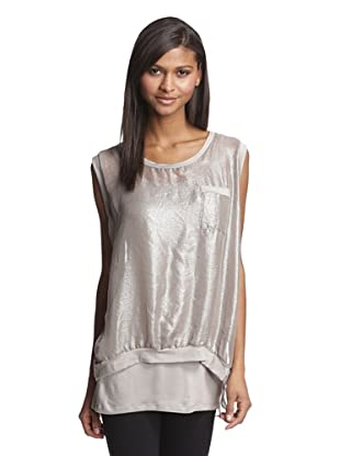 LoLa & Sophie Women's Metallic Chiffon Top (Taupe)
