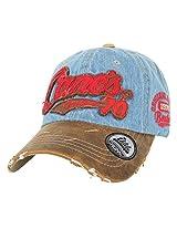 ililily Distressed Vintage Cotton embroidered Baseball Cap Snapback Trucker Hat Light Blue AD