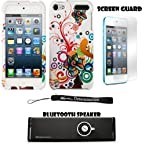 Floral Design 2 piece Cover Shield Protector Case For Apple iPod Touch 5 ( 5th Generation) 32GB, 64GB + Anti Glare Screen Protector Guard + Supertooth Disco Bluetooth Speaker with AUX Cable + an eBigValue TM Determination Hand Strap