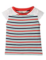 Beebay girls Cotton Laced Sleeve Stripper T-Shirt (G1515106220918_Multi-color_12Y)