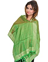 Exotic India Banarasi Stole with All-Over Tanchoi Weave and Paisley Border - Color Jasmine GreenColor Free Size