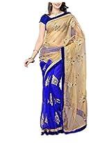 Rajlaxmi Women's Half Net Half Georgette Saree (Blue)
