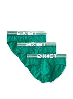 2(X)ist Men's Cabana No Show Briefs - 3 Pack (Bright Green)
