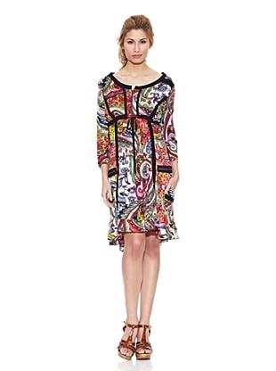 Peace & Love Vestido Cuello Redondo Floral (Multicolor)