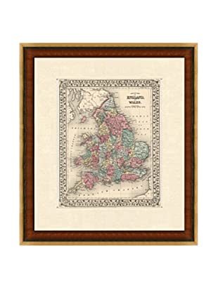 Antique Hand-Engraved Map of England, 1882