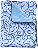 Caden Lane Luxe Collection Swirl Piped Blanket, Dark Blue