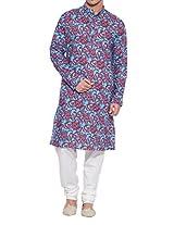 Shaliindia Men Cotton Long Kurta Nehru Collar 3 pockets,M-CLK48-1019,Rust,Size-48 Inch