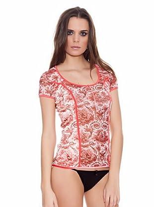 ROBERTO CAVALLI INTIMO Camiseta Estampado con terciopelo (Rojo / Blanco)