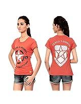 Texco Women's Round Neck T-Shirt (TC0049W-006_Brown_X-Large)