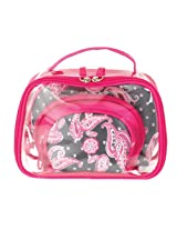 Danielle Cosmetic 4 Piece Make-Up Bag Set, Pink Paisley