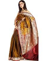Metallic-Khaki Banarasi Sari with Golden Bootis and Brocaded Anchal - Satin