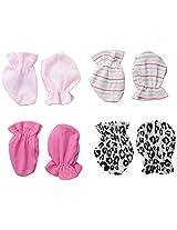 BON BEBE Baby-Girls Newborn 4 Pack Mitten Set
