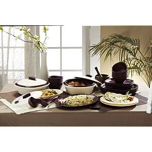 Signoraware Square Dinner Set, 36-Pieces, Maroon