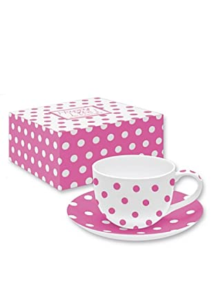 Easy Life Design Tazza da Tè con Piatto in Porcellana Bone China Happy Pois (Rosa)