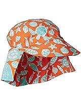 Flap Happy Baby Boys' Cotton Poplin Hat, Tangerine Tide, X Small