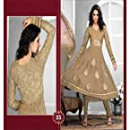 New Designer Karachi Collection Of deep Coffee Brown Embroidery Zeba Anarkali Suit