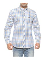 Wrangler Men Cotton LIMOGES-BLUE Casual Shirt (Large)