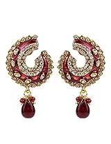 Vidhi's Maroon Diamond Polki Meenakari work Gold Plated Indian Wedding Hanging Earrings