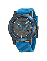 Burberry The City Sport Chronograph Black Check Stamped Dial Blue Rubber Men'S Watch - Bur9812