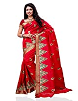 Meghdoot Traditional Raw Silk Saree Red Color
