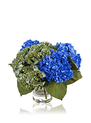 "New Growth Designs Hydrangea, ""Cut"" in Bucket Vase, Blue/Green"