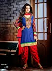 Attractive Blue & Red Cotton Designer Patiala Suit