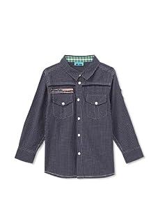 Me Too Boy's Malcom Bam Windowpane Shirt (Horizon)