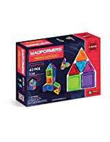 MAGFORMERS Solids Clear Rainbow 40 Piece Set Playset
