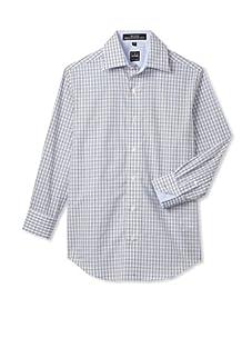 Ike Behar Boy's 8-20 Checked Long Sleeve Shirt (Blue)