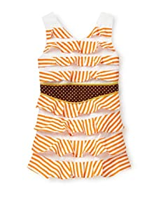 Beetlejuice Girl's 2T-6X Buttercream Striped Ruffle Dress (Orange/White)