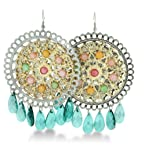 LARGE Circular Two-Tone Shimmering Green Crystal 3 Inch Chandelier Earrings