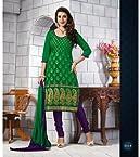 Chanderi Printed Green Semi Stitched Churidar Suit - 107-3514