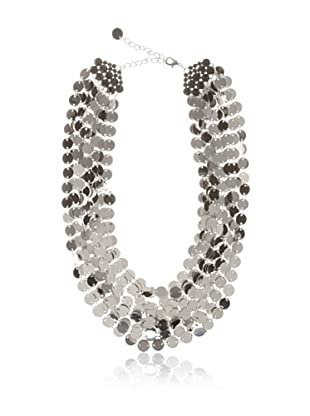 Chloe & Theodora Silver-Tone Shimmer Disc Necklace with Cubic Zirconias
