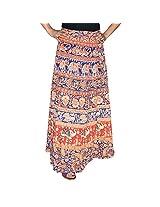 Marusthali Printed Cotton Elephant & Peacock Wrap Around Skirt